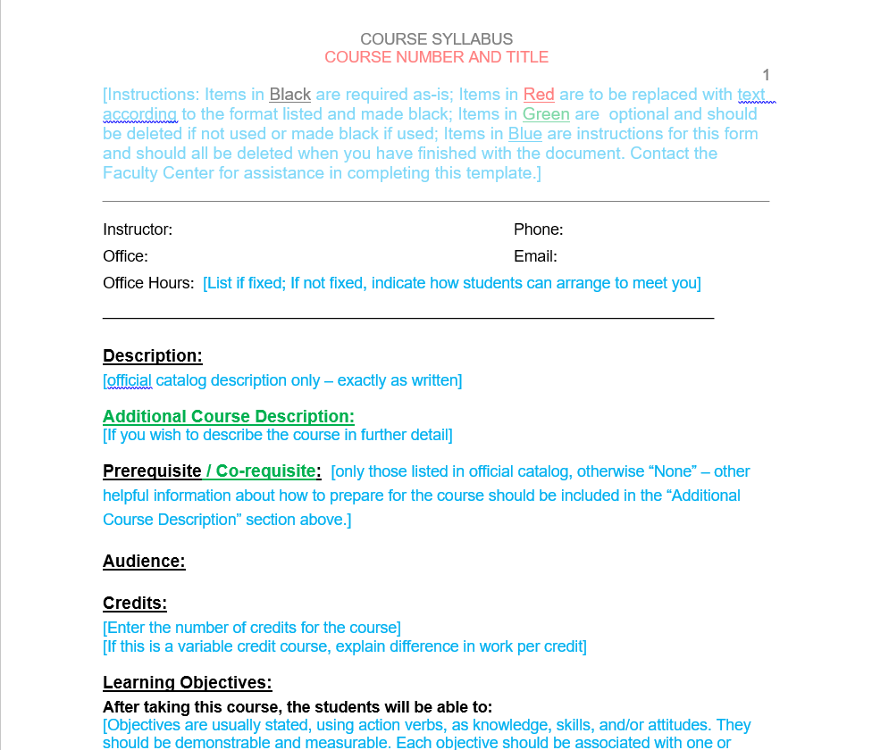 Course Syllabus Template | iSchool Faculty Center for Teaching and ...
