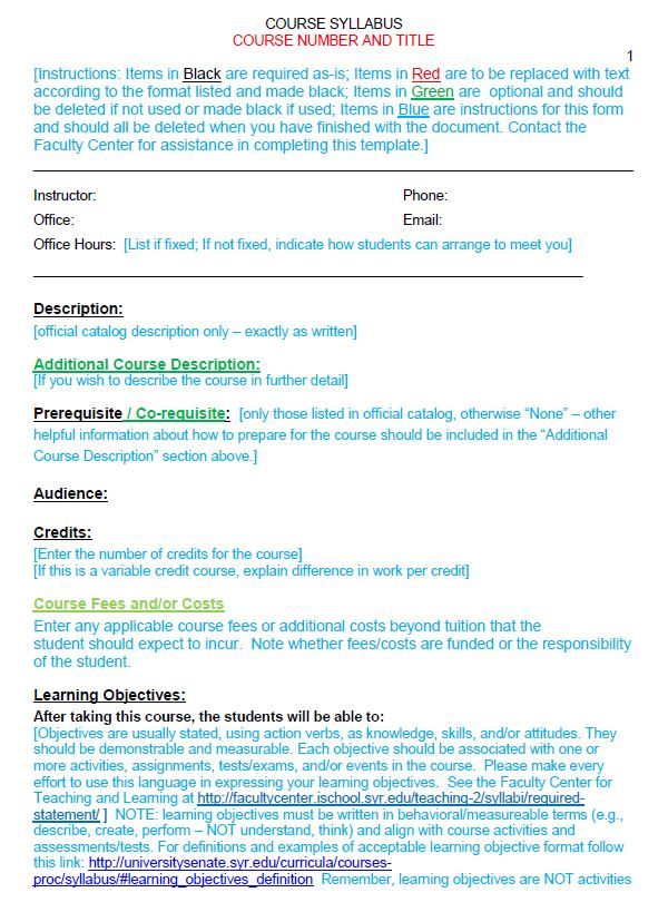 Image of iSchool Syllabus Template, Page 1